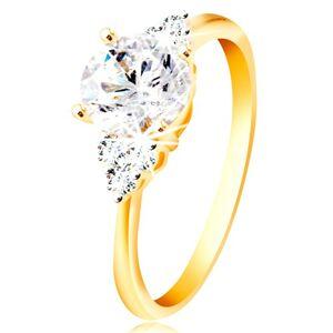 Prsteň zo 14K zlata - veľký číry zirkón v strede, trojice zirkónikov po stranách - Veľkosť: 56 mm