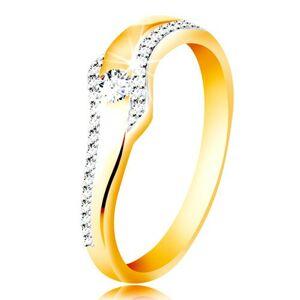 Prsteň zo 14K zlata - vlnka s čírym zirkónom a trblietavými líniami po stranách - Veľkosť: 51 mm