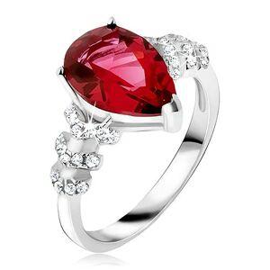 Prsteň zo striebra 925 - červený slzičkový kameň, číre zirkónové šípky - Veľkosť: 59 mm