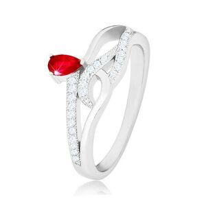 Prsteň zo striebra 925, červený slzičkový zirkón, zvlnené zirkónové línie - Veľkosť: 58 mm