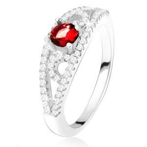Prsteň zo striebra 925, okrúhly červený zirkón, línie s čírymi kamienkami - Veľkosť: 54 mm