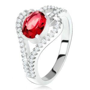 Prsteň zo striebra 925, oválny červený kameň, číra kontúra listu - Veľkosť: 49 mm