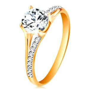 Prsteň zo zlata 585 - rozdvojené ramená, vystúpený okrúhly zirkón čírej farby - Veľkosť: 51 mm