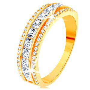 Prsteň zo žltého 14K zlata - línia čírych zirkónových štvorčekov, trblietavý lem - Veľkosť: 57 mm