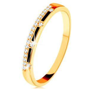 Prsteň zo žltého 14K zlata - pásy čiernej glazúry, číra zirkónová línia - Veľkosť: 52 mm