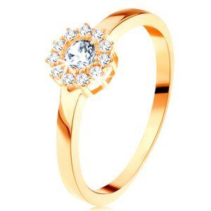Prsteň zo žltého 14K zlata - trblietavý kvet z okrúhlych čírych zirkónov - Veľkosť: 57 mm