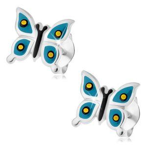 Puzetové náušnice, striebro 925, lesklý motýlik, modré krídla, žlto-čierne bodky