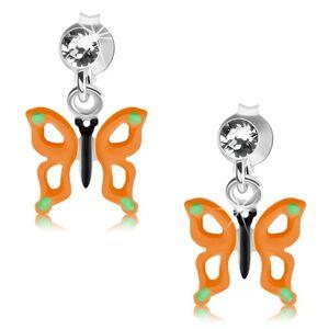 Puzetové náušnice, striebro 925, motýľ s oranžovými krídlami, výrezy, krištáľ