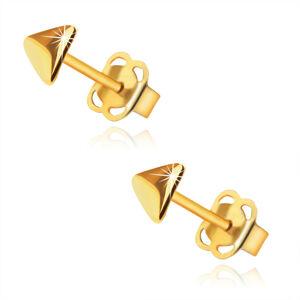 Puzetové náušnice z 9K zlata - zrkadlovolesklé trojuholníky so zaoblením