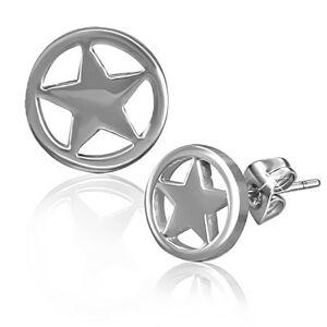 Puzetové náušnice z chirurgickej ocele - hviezda v kruhu