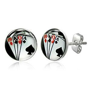 Puzetové náušnice z ocele - hracie karty vo vejári, na čiernom pozadí