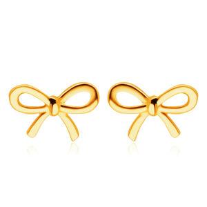 Puzetové náušnice zo 14K žltého zlata - lesklá plochá mašlička