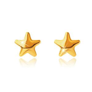 Puzetové náušnice zo žltého 9K zlata, hladké zrkadlovo-lesklé hviezdičky