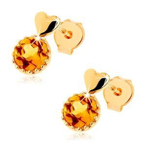 Puzetové náušnice zo žltého 9K zlata - malé vypuklé srdce, okrúhly žltý citrín