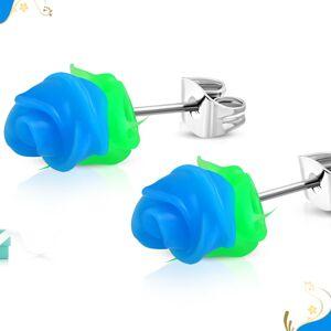 Puzetové oceľové náušnice, modrá silikónová ružička so zelenými lístkami