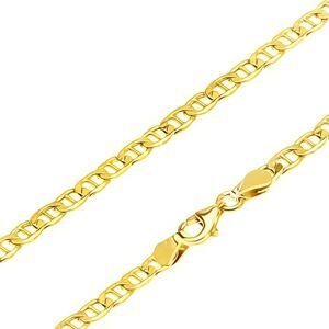 Retiazka v žltom 14K zlate - elipsovité očká predelené paličkou, 550 mm