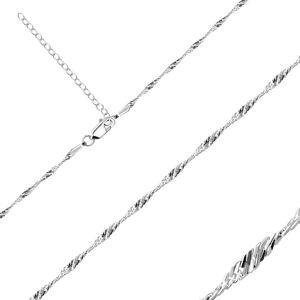 Retiazka z 925 striebra - lesklé oválne očká v špirále, 1,7 mm