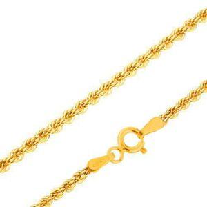 Retiazka zo žltého 14K zlata - husto prepojené očká do špirály, 550 mm
