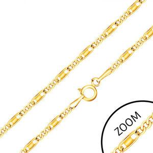 Retiazka zo žltého 14K zlata - oválne a podlhovasté očká, obdĺžnik, 440 mm