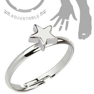 Ródiovaný nastaviteľný  prsteň striebornej farby, lesklá päťcípa hviezda - Veľkosť: 48 mm