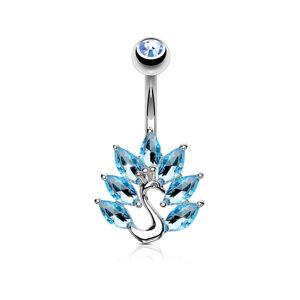 Ródiovaný piercing do pupku z ocele - páv so zirkónovým chvostom - Farba zirkónu: Číra - C