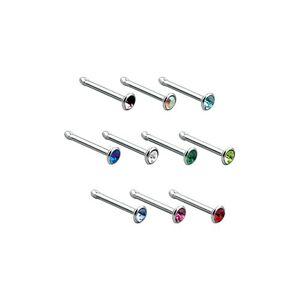 Rovný piercing do nosa z ocele 316L, farebný zirkón v hlavičke - Farba zirkónu: Dúhová - AB