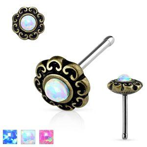 Rovný piercing do nosa z ocele 316L, patinovaný kvet so syntetickým opálom - Farba: Ružová