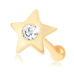 Rovný piercing do nosa zo žltého 14K zlata - malá lesklá hviezdička so zirkónom