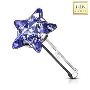 Rovný zlatý 585 piercing do nosa - hviezdička v modrofialovom odtieni