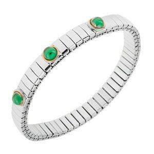 Rozťahovací náramok z ocele striebornej farby, smaragdovo zelené guličky