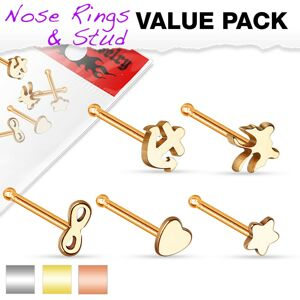 Sada piatich oceľových piercingov do nosa - osmička, kotva, hviezda, motýľ a srdce - Farba: Zlatá