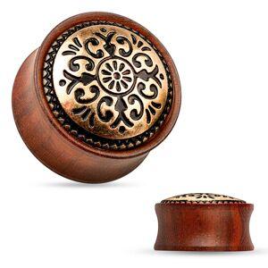 Sedlový plug do ucha z dreva mahagónovej farby, vyrezávaný kruh - Hrúbka: 6 mm