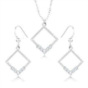 Set náhrdelníka a náušníc - striebro 925, kontúra kosoštvorca, číre zirkóny, vrúbky