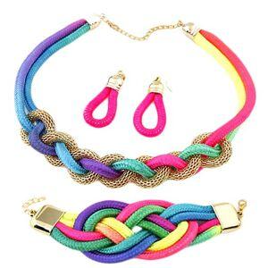 Set náušníc, náramku a náhrdelníka, prepletané farebné lanká, retiazka