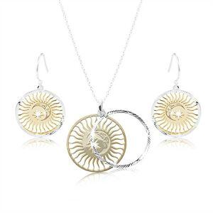 Set zo striebra 925, zdvojený kruh - slnko, mesiac a hviezda