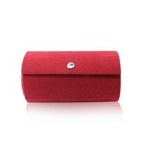 Šperkovnica v červenom farebnom prevedení - tvar valca, tri priehradky