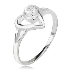 Srdiečkový prsteň, obrys asymetrického srdca, číre kamienky, striebro 925 - Veľkosť: 57 mm