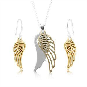 Strieborná sada 925, anjelské krídlo v striebornom a zlatom odtieni