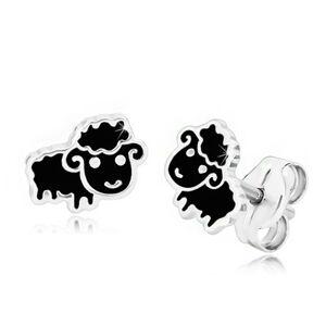 Strieborné 925 náušnice - čierna ovca zdobená lesklou glazúrou, puzetky