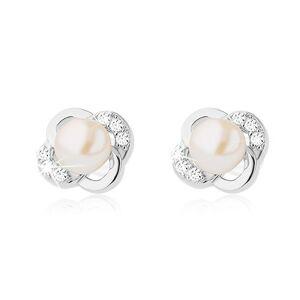 Strieborné náušnice 925, kvet z hladkých a zirkónových lupeňov, biela perla