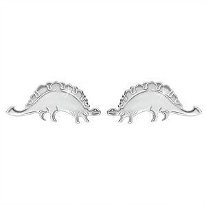 Strieborné náušnice 925 - ligotavý dinosaurus - stegosaurus, puzetové zapínanie