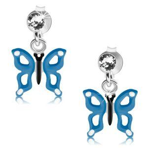 Strieborné náušnice 925, modro-biely motýlik s výrezmi na krídlach, krištáľ