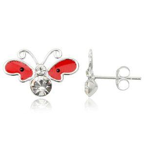 Strieborné náušnice 925 - motýľ, červené krídla s čiernymi bodkami