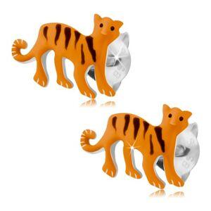 Strieborné náušnice 925, oranžový tiger s čiernymi pásikmi, puzetky