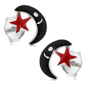 Strieborné náušnice 925, puzetky, čierny mesiac, červená hviezdička, glazúra