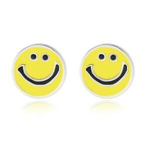 Strieborné náušnice 925 - usmievavý smajlík zdobený žltou glazúrou, puzetky