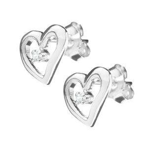Strieborné náušničky 925 - kontúra nepravidelného srdca so zirkónom