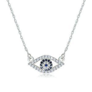 Strieborný 925 náhrdelník - číre zirkónové očko s tmavomodrým syntetickým topásom