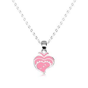 Strieborný 925 náhrdelník - lesklá retiazka, rybička zdobená ružovou glazúrou