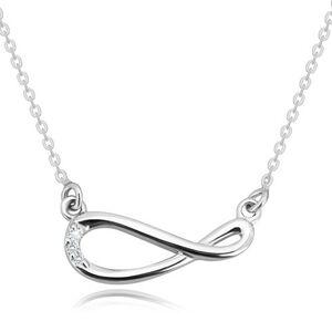Strieborný 925 náhrdelník - ligotavá retiazka, symbol nekonečna s briliantmi